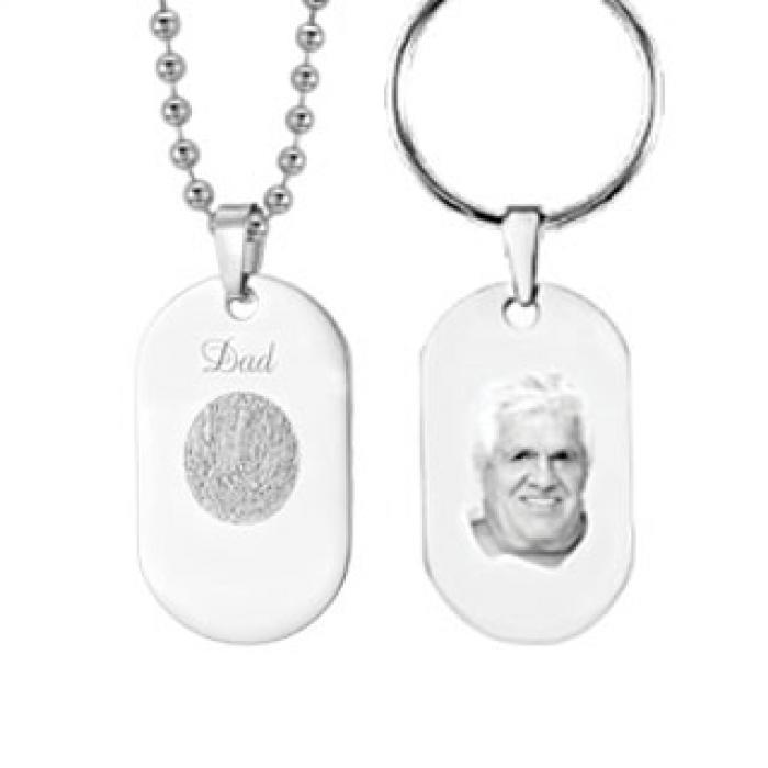 Memory Tag  -  Titanium with ball chain or Keyring Jewelry