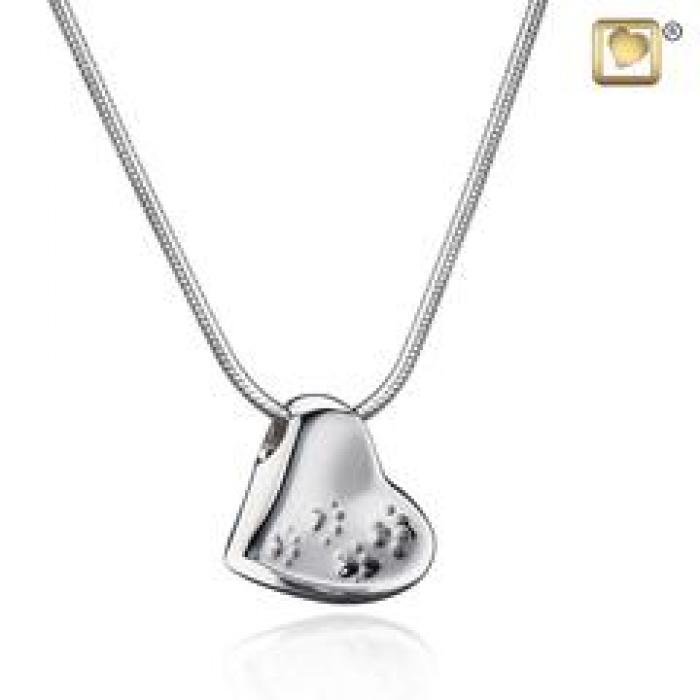 Pendant - Leaning Heart w/Paw Prints Silver Jewelry