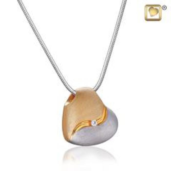 Pendant - Heartfelt Silver-Gold Vermeil (Brushed w/Crystal) Jewelry