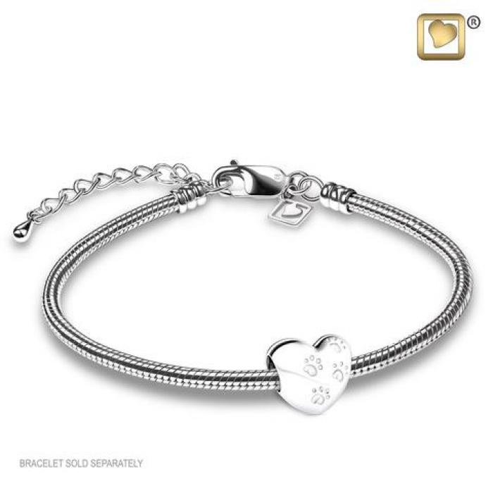Bead - LoveHeart with Paws Silver Jewelry