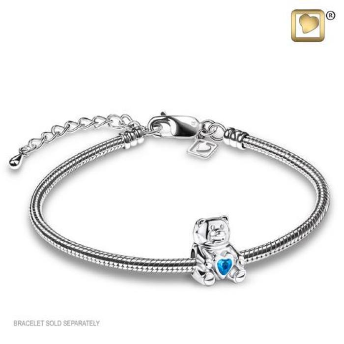 Bead - Teddy Bear Silver (Polished w/Blue Crystal) Jewelry