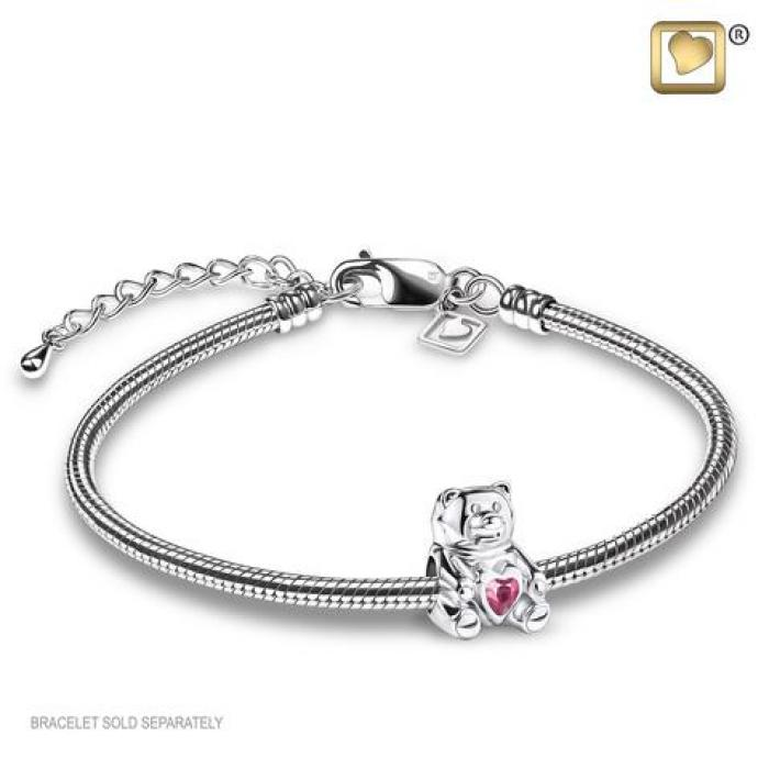 Bead - Teddy Bear Silver (Polished w/Pink Crystal) Jewelry