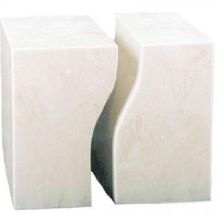 Companion Square Ivory Marble Urns