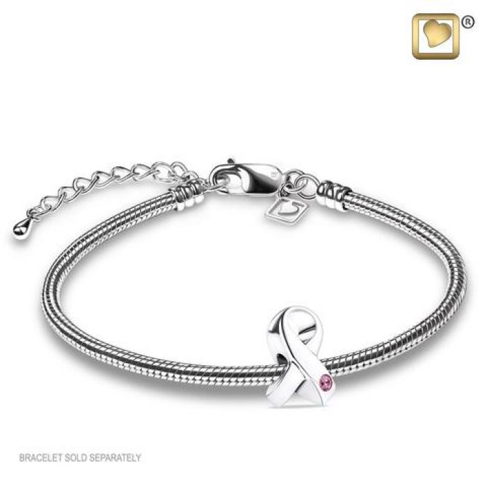 Bead - Awareness Silver (Polished w/Pink Crystal) Jewelry