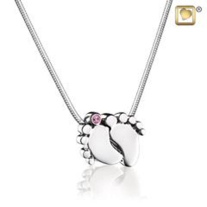 Pendant - Baby Feet Silver (Polished w/Pink Crystal) Jewelry