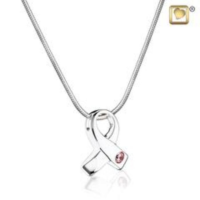 Pendant - Awareness Silver (Polished w/Pink Crystal) Jewelry