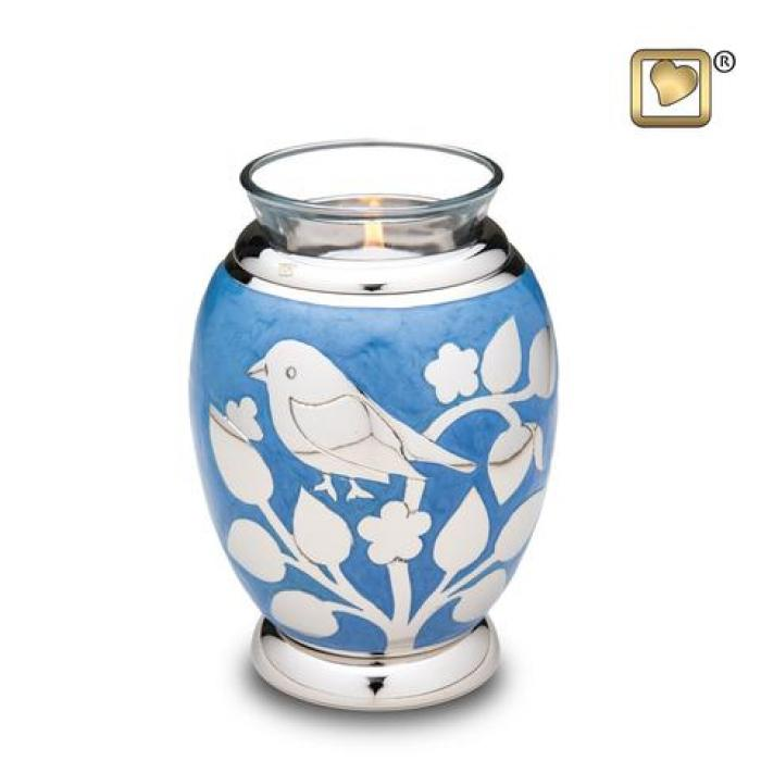 Blessing Birds Silver Tea Light Keepsake Urns